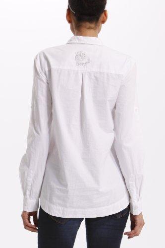 weiß Collo Camicetta Bianco Regular Desigual Donna Lunga 1000 Rotondo Manica Fit blanco wOpxx4qA