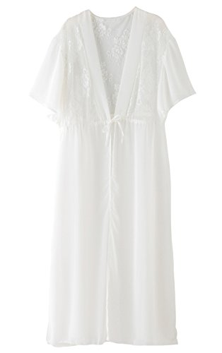 Zeraca Women's Lace Chiffon Kimono Cover up Dress Beachwear