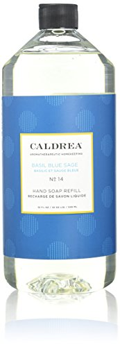 Caldrea Liquid Hand Soap Refill, Basil Blue Sage, 32 Fluid O