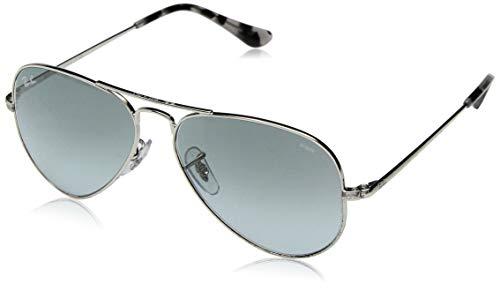 Ray-Ban RB3689 Aviator Evolve Photochromic Sunglasses, Silver/Photochromic Blue Gradient, 55 ()
