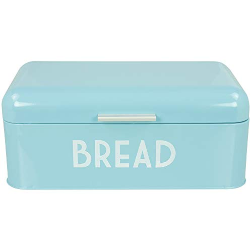 Home Basics Retro Bread Box for Kitchen Counter, Stainless Steel Bread Bin Storage Container for Loaves, Pastries and more, Vintage Inspired Design, Turquoise