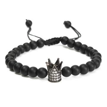 Unisex Black Matte Onyx Crown Crystal Beads Bracelet Jewelry - Bracelets Bangle & - Bracelet Onyx Cuff