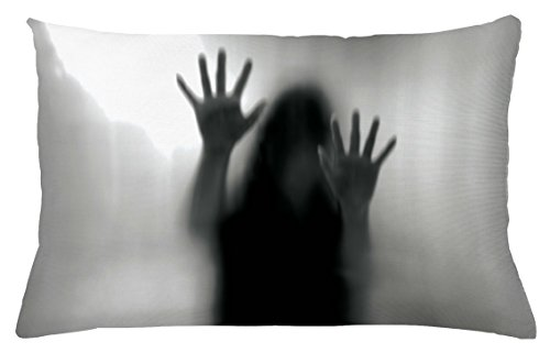 Lunarable Horror House Throw Pillow Cushion Cover, Silhouette of Woman behind the Veil Scared to Death Obscured Paranormal Photo Print, Decorative Accent Pillow Case, 26 W X 16 L Inches, Gray by Lunarable