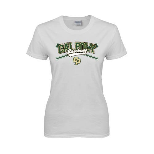 Cal Poly Ladies White T Shirt 'Baseball Crossed Bats Design'
