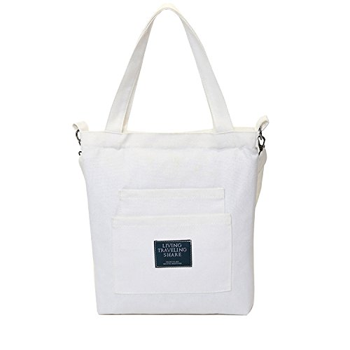 8f4df6638cbb Youndcc Cotton Canvas Tote Bag Canvas Shoulder Bag Cross-body Bag Tote  Handbag Canvas Beach Tote Bag Shopping Bag (White)