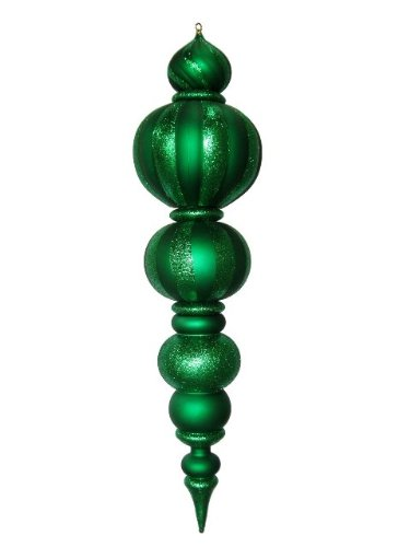 Queens of Christmas WL-FIN-48-GR Plastic Oversized Shatterproof Finial Decorative Ornament, 48'', Green