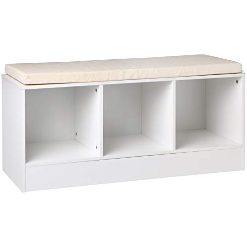 AmazonBasics 3-Cube Entryway Shoe Storage Bench with Cushioned Seat, White ()