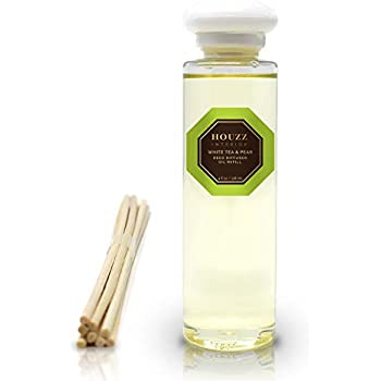 HOUZZ Interior Reed Diffuser Refill Oil White Tea & PEAR - Reed Sticks Included - Natural White Tea, Bartlett Pear & Bergamot - No Sulfates or Parabens - Home Gift Idea - Made in The USA