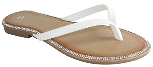 Cambridge Select Women Kristal Strass String Flip-flop Slip-on Plat Sandaal Wit