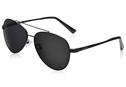 LUENX Men Women Aviator Sunglasses Polarized Non-Mirror Black Lens Black Metal Frame with Accessories UV 400 Protection ()