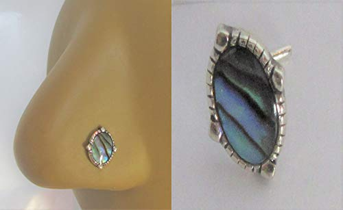 Sterling Silver Abalone Shell Nose Bent L Shape Stud Pin Post 20 Gauge ()