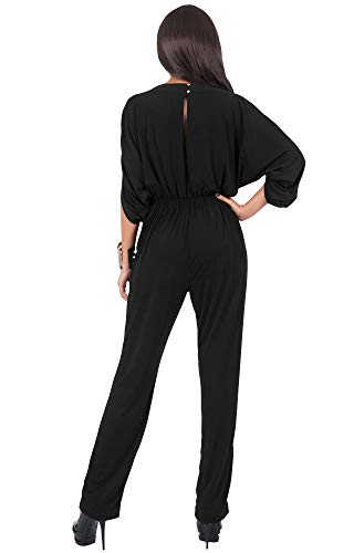 KOH KOH Womens Short Sleeve Sexy Formal Cocktail Casual Cute Long Pants One Piece Fall Pockets Dressy Jumpsuit Romper Long Leg Pant Suit Suits Outfit Playsuit, Black L 12-14 by KOH KOH (Image #5)