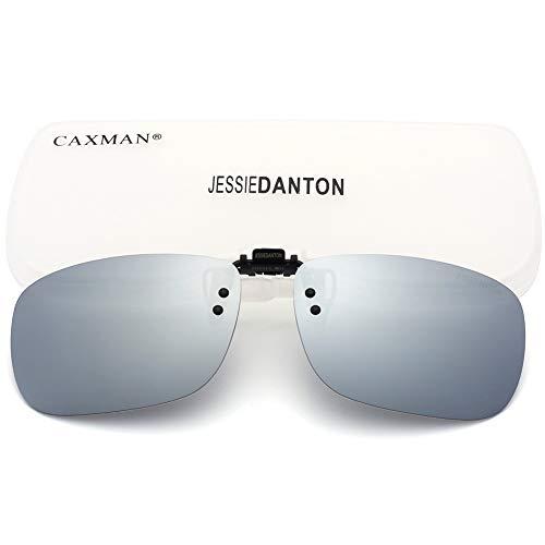 CAXMAN Polarized Clip On Sunglasses Over Prescription Glasses for Men Women UV Protection Flip Up Silver Mirrored Lens Large ()