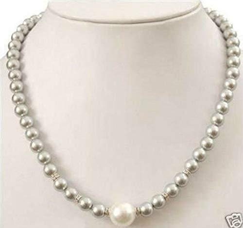 FidgetFidget New Prety 8-12MM Grey Sea Shell Pearl Necklace 18
