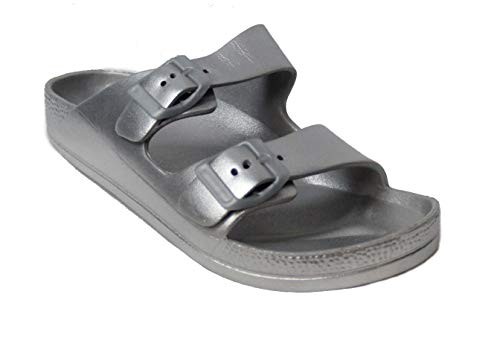 Buckle Sandals Big - H2K Women's Lightweight Comfort Soft Slides EVA Adjustable Double Buckle Flat Sandals Buddy (8 B(M) US, Silver)