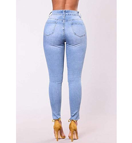 Bordados Las Casuales Lápiz Vaqueros De Pantalones Mujeres Alta Blau Agujeros Cintura Frontales Ropa Ajustados Delgado wq5CXFw
