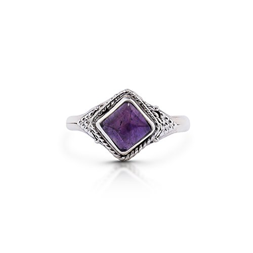 Sterling Silver Cabochon Amethyst Ring - Koral Jewelry Amethyst Vintage Gipsy Small Ring 925 Sterling Silver Square Stone Boho Chic US Size 5 6 7 8 9 (6)