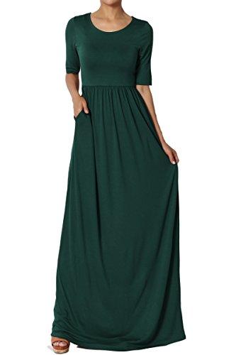 TheMogan Women's Half Sleeve Shirred Viscose Jersey Long Maxi Dress Hunter Green (Half Sleeve Floor)