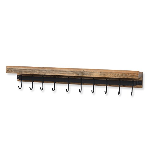 Rustic State Wall Mounted Decorative Kitchen Ledge Shelf with Rail and 10 Hooks Wood Walnut