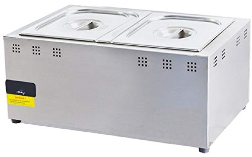 - GN1/1 2X PAN Included 2X LID Included Full Set Propane Gas 2 Compartment Industrial Commercial Restaurant Cafe Catering Bain-Marie Buffet Food Sause Desktop Countertop Food Warmer Steamer Steam Table
