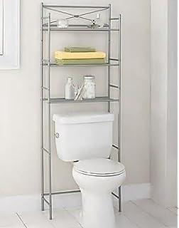 Over The Toilet Storage Spacesaver Shelves Organizer Towel Rack Nickel  Bathroom