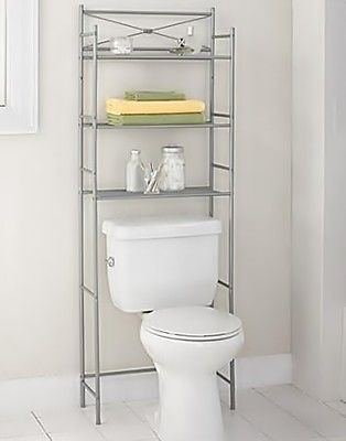Awe Inspiring Over The Toilet Storage Spacesaver Shelves Organizer Towel Rack Nickel Bathroom Home Interior And Landscaping Ologienasavecom