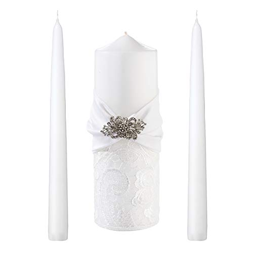 (Lillian Rose WS727 W White Lace Wedding Unity Candle Set, 11.25 x 7.5 x 4.75, Multicolor)