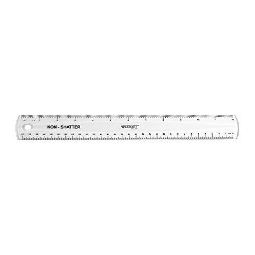 Westcott Non-Shatter Ruler, Clear, 12 Inches,(13862) (4, 1-Pack)