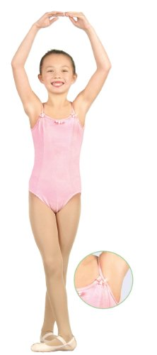 Camisole Leotard with Princess Seam Rosettes and 3 Small Bows (2-4, Black)