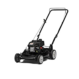 Yard Machines 140cc OHV 21-Inch 2-in-1 Push Walk-Behind  Gas Powered Lawn Mower 93 POWERFUL ENGINE:  140cc engine equipped with recoil start and primer MUTLIPLE HEIGHT SETTINGS: Dual lever height adjuster with 6 different height settings 2-IN-1 CUTTING DECK: Side discharge and mulching capabilities