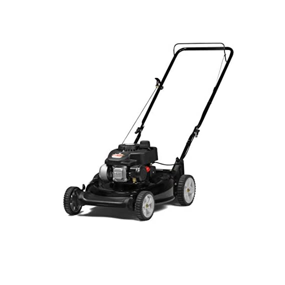 Yard Machines 140cc OHV 21-Inch 2-in-1 Push Walk-Behind  Gas Powered Lawn Mower 1 POWERFUL ENGINE:  140cc engine equipped with recoil start and primer MUTLIPLE HEIGHT SETTINGS: Dual lever height adjuster with 6 different height settings 2-IN-1 CUTTING DECK: Side discharge and mulching capabilities