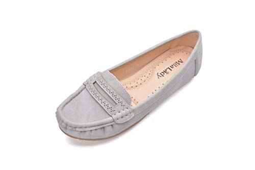 Comfortable Cushioned Insole Slip On Loafer Moccasins Flats Driving & Walking Shoes for Women, Angie Grey Size 5.5