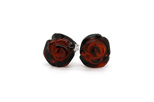 925 Sterling Silver Stud Earrings Rose with Cherry Genuine Natural Baltic Amber