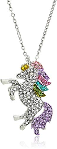 Persona Model Agency Unicorn Necklace - Rainbow Unicorn Necklace - Sterling Silver with Swarovski -
