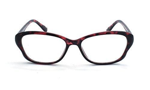 Eye-Zoom® Cat Eye Tortoise Color Frame Women Reading Glasses with Spring Hinge (Red, Strength: (No Prescription Color Contacts)