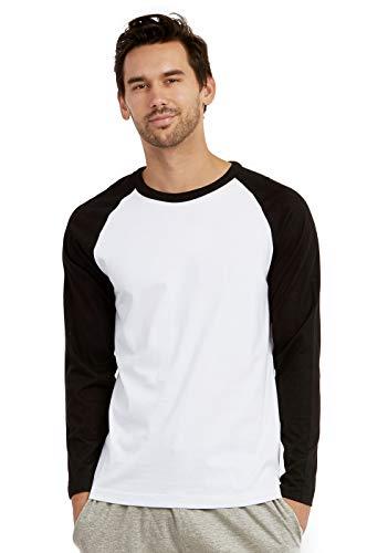(Men's Full Length Sleeve Raglan Cotton Baseball Tee Shirt (M, Black/White))