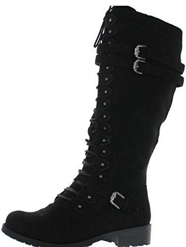 Wild Diva Timberly-65 Women's Fashion Lace Up Buckle Knee High Combat Boots,Black Suede,8.5