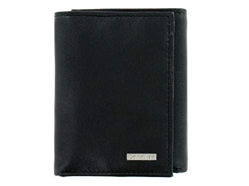 Calvin Klein Men's Black Pebble Genuine Leather | ID Holder | Tri-Fold Wallet