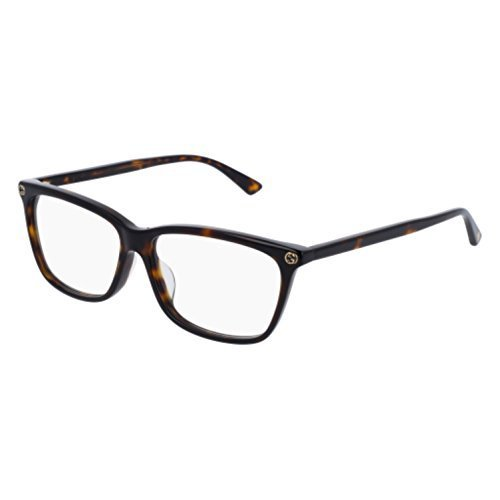 (Gucci GG0042OA Eyeglasses 002 Havana-Havana / Clear Lens 55mm)
