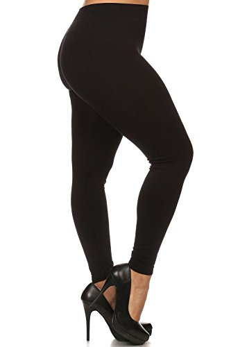 World of Leggings PLUS SIZE Premium Nylon Spandex Leggings Black