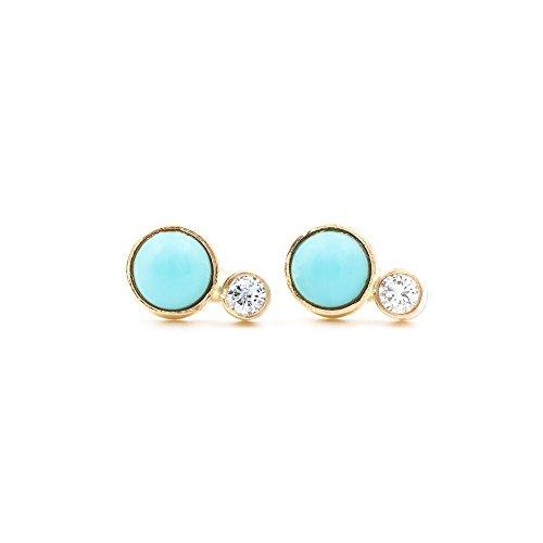 14k Gold Diamond and Turquoise Stud Earrings (Diamond Stud Turquoise)