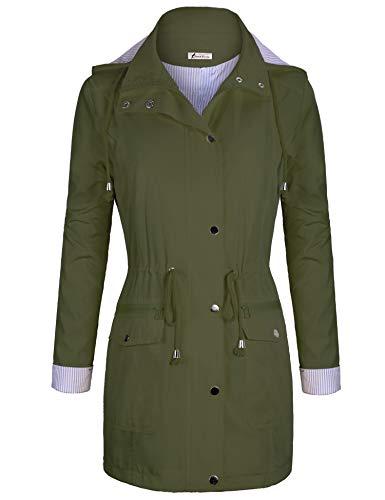 Twinklady Rain Jacket Women Windbreaker Striped Climbing Raincoats Waterproof Lightweight Outdoor Hooded Trench Coats Army Green M