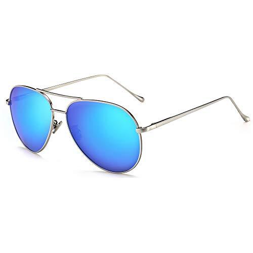 (SUNGAIT Women's Lightweight Oversized Aviator sunglasses - Mirrored Polarized Lens (Sliver Frame/Ocean Blue Mirror Lens)1603YKHL)