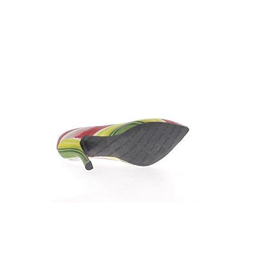 Escarpins grande taille bandes multicolores à talon de 12cm bouts pointus