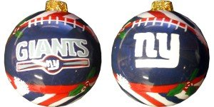 New York Giants Hand Painted Glass Ball Ornament (Glass York New Giants Ornament)