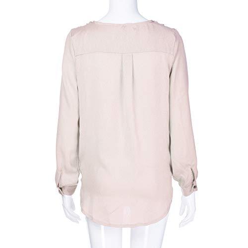 Grande Manches Chemise Femme Chemisier Longues Imprimes Femme Solide Tee Femmes Shirt Rose Mode Col Longue Swag en Sweatshirt Taille Femme Chemise pour V Loose Manche POTTOA UHYOf