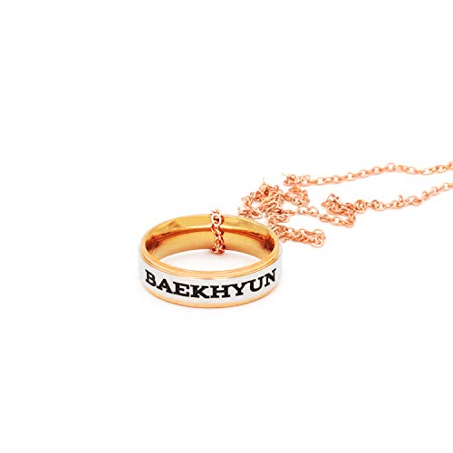 Fanstown Kpop EXO Finger Ring Engraved Double Deck Ring Member Name and Team Logo Design Rose Golden Necklace (Baekhyun Necklace)
