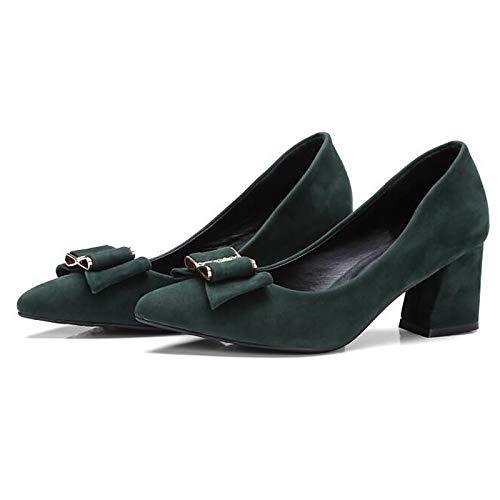 Basic Green Leather Black Shoes Women'S Heel QOIQNLSN Nappa Heels Pump Spring Green Red Chunky qw4Xvt
