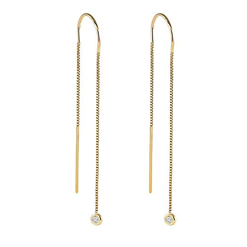 - TousAttari Diamond Threaders Earrings - Box Chain Earring Jewelry- 0.10 tcw Round Brilliant Cut - 14k Yellow Rose and White Drop Earrings - Hanging Ladies Gift