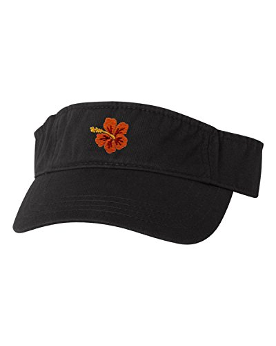 Go All Out Adjustable Black Adult Hawaiian Flower Hibiscus Embroidered Visor Dad Hat